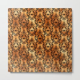 Halloween Black and Gold Design Pattern Metal Print