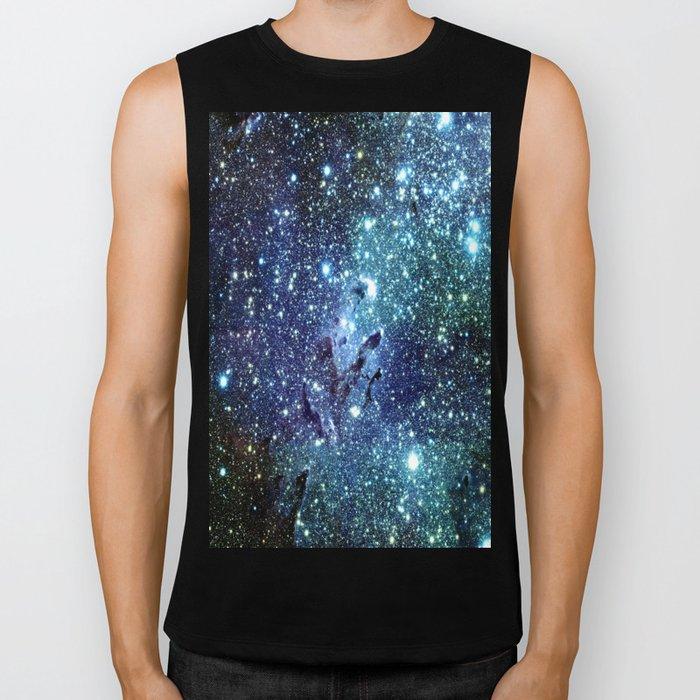 GalaxY Nebula Blue Teal Indigo Biker Tank