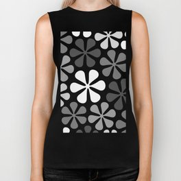 Abstract Flowers Monochrome Biker Tank