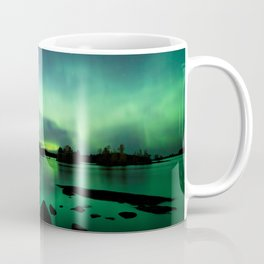 Northern lights lake landscape in Finland Coffee Mug