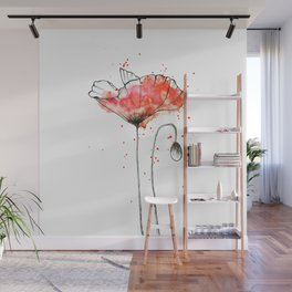 watercolor poppy // watercolor stains // watercolor splashes // minimalism Wall Mural