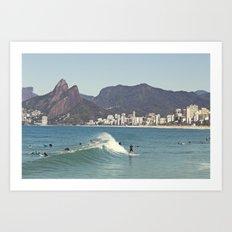 Surfing on Ipanema Beach Art Print