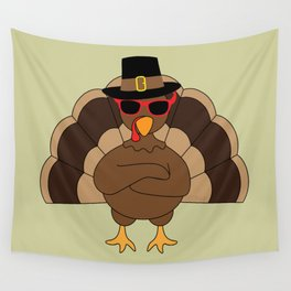Cool Turkey with sunglasses Happy Thanksgiving Wall Tapestry