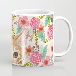 Orange Tabby floral cat head cute pet portrait gifts for orange tabby cat must haves Coffee Mug