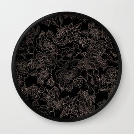 Pink coral tan black floral illustration pattern Wall Clock