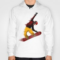 snowboarding Hoodies featuring Snowboarding by Boehm Graphics