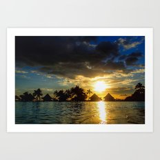 Silhouettes Of Palm Trees And Huts At Sunset in French Polynesia Art Print