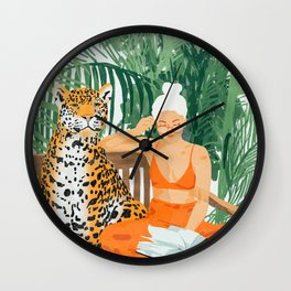 Jungle Vacay #painting #illustration Wall Clock