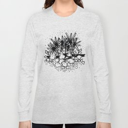 Scribble Doodle Flowers No.3A by Kathy Morton Stanion Long Sleeve T-shirt