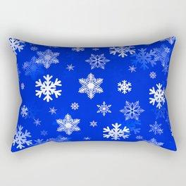Light Blue Snowflakes Rectangular Pillow