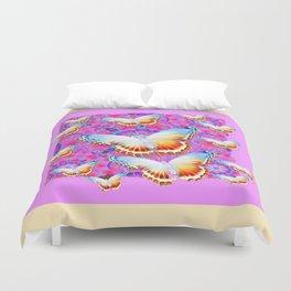 EXOTIC ORIENTAL BUTTERFLIES PINK-YELLOW ART Duvet Cover