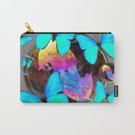 SURREAL NEON BLUE BUTTERFLIES  & SOAP BUBBLES GREY Carry-All Pouch