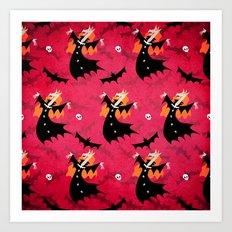 Unicorn Vampire Pattern Art Print