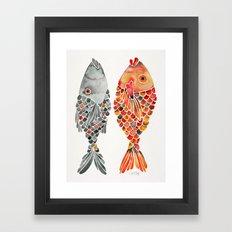 Indonesian Fish Duo – Grey & Orange Palette Framed Art Print