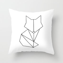 Geometric Fox - Black Throw Pillow