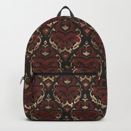 Persian Oriental Pattern - Black and Red Leather Backpack