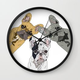 Triple Frenchies Wall Clock