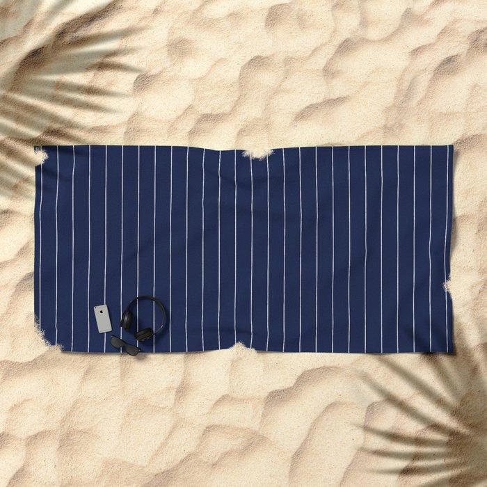 Blue Indigo Navy Pinstripes Line Beach Towel