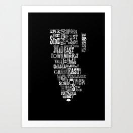 Alphabet Cities 002 - New York (Monochrome) Art Print