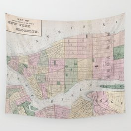 Vintage Map of New York City (1873) Wall Tapestry