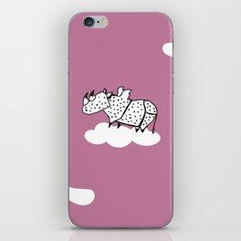 Flying Rhinoceros by Amanda Jones iPhone Skin