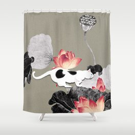 Cat and Lotus Shower Curtain