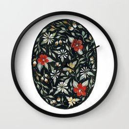Southwest Style Oval Floral Gouache Painting Wall Clock