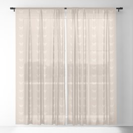 Minimal Butterfly Pattern - Neutral Pink Sheer Curtain