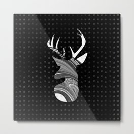Black and White Deer Abstract Design Metal Print