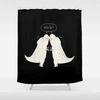 hug Shower Curtains featuring Hug by I Love Doodle