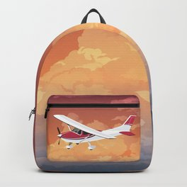 Cessna Flying Through Clouds Backpack