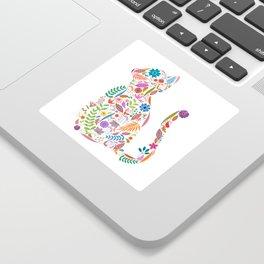 Fancy And Fine Flowered Cat Garden Design Sticker