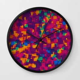 red blue orange and green drawing and painting square pattern background Wall Clock