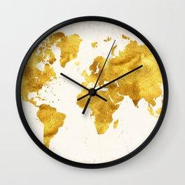 24 Karat World, faux gold world map Wall Clock