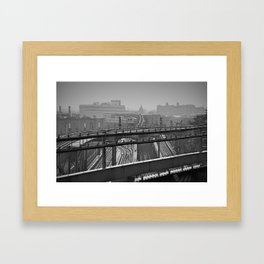 Tales of a Subway Train in Black and White Framed Art Print
