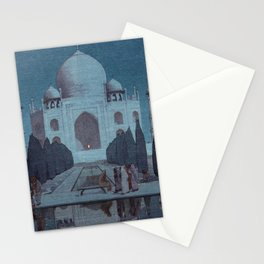 Taj Mahal in Moonlight by Yoshida Hiroshi - Japanese Vintage Ukiyo-e Woodblock Painting Stationery Cards