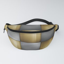 Gold Silver Metallic Perforated Metal Checkerboard Pattern Fanny Pack
