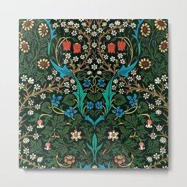 William Morris Tulips, Blue Columbine, Orchids, & Sunflowers Textile Flower Print Metal Print