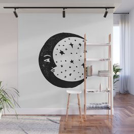 Linocut Moon crescent moon cycle lunar printmaking art decor black and white Wall Mural