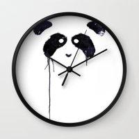 panda Wall Clocks featuring Panda by Tobe Fonseca