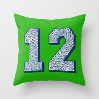 seahawks Throw Pillows featuring Go Hawks 12_2 by Nuart Media Group