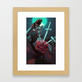 3 of swords Framed Art Print