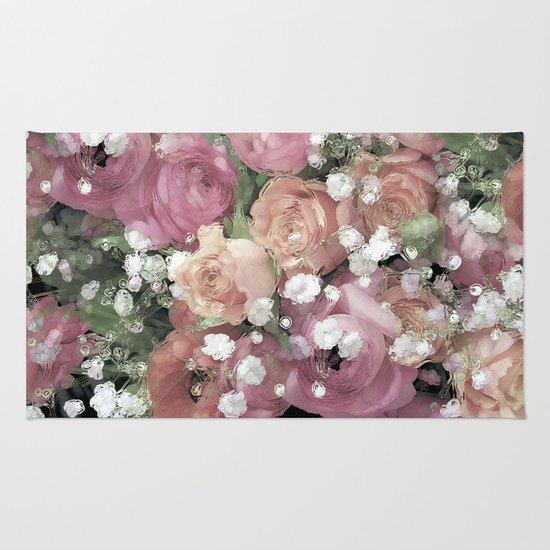 vintage pastel flowers Rug