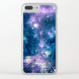 """Train Tracks : """"Next Stop, Anywhere"""" Purple Teal Clear iPhone Case"""