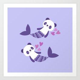 Cute purple merpandas Art Print