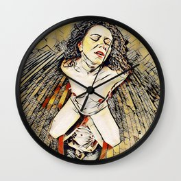 6151s-KD Red Lips in Mirror Erotic Art in the style of Wassily Kandinsky Wall Clock