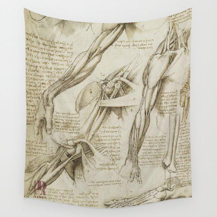 Leonardo Da Vinci Human Body Sketches Arms Wall Tapestry By