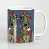 great dane Mugs featuring Great Dane love midnight by Sharon Turner
