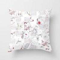 calendar Throw Pillows featuring Calendar mess by Dreamy Me