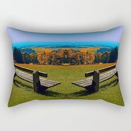 Summertime scenery and the bench to watch it Rectangular Pillow